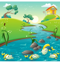 Landscape with river and funny fish vector image