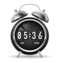 retro round alarm clock with flip numbers instead vector image