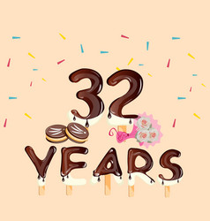 32nd years anniversary cars with flowers and cake vector image vector image