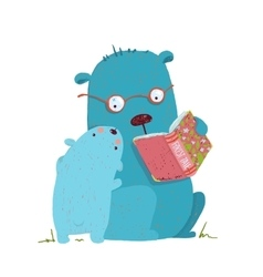 Bear parent reading book to kid vector image