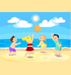 cartoon children playing volleyball on the beach vector image
