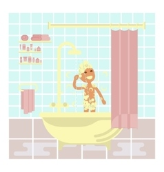 child is taking a shower vector image