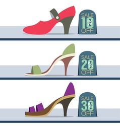 Colorful High Heel Shoes On Sale vector image vector image