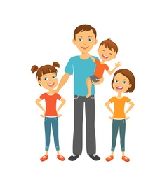 Father with kids Dad and children Fathers day vector image vector image