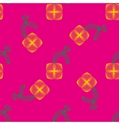 Yellow flower with leaves seamless pattern vector image