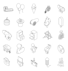 Amusement park icons set isometric 3d style vector image