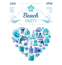Beach party invitation in blue color with icons in vector image vector image