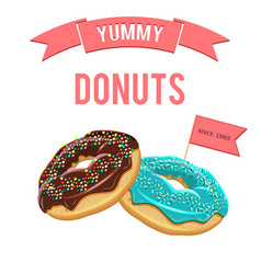 donuts set collection of tasty donuts with vector image