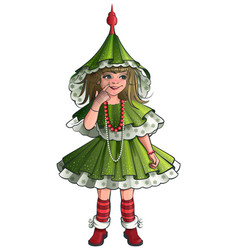 girl new year costume green christmas tree vector image