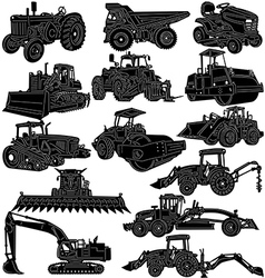 Building and Farm Equipments detailed silhouette vector image vector image