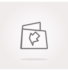 Folder icon web button with map isolated on vector image