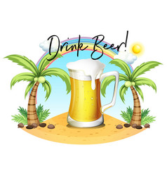 glass of beer on beach vector image vector image