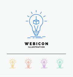 3d cube idea bulb printing box 5 color line web vector