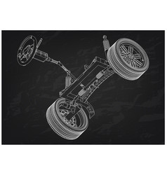 3d model of steering column and car suspension vector