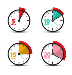 5 10 15 20 minutes analog clock icons time symbol vector