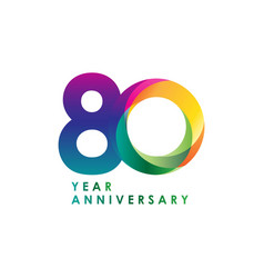 80 year anniversary template design vector