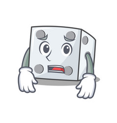 Afraid dice character cartoon style vector