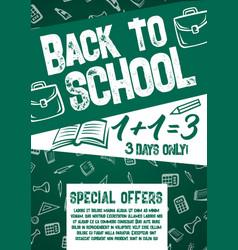 Back to school chalkboard sale offer poster vector