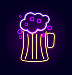 beer pint with foam neon sign vector image