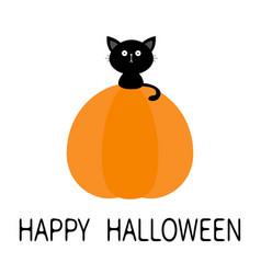 black cat sitting on pumpkin cute cartoon kawaii vector image