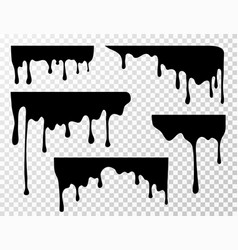 Black dripping oil stain sauce or paint current vector