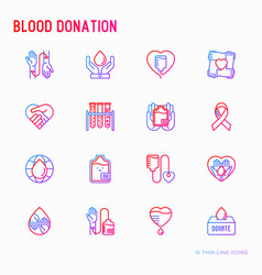 blood donation charity mutual aid thin line icon vector image