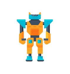 Blue-orange transformer strong metal robot metal vector