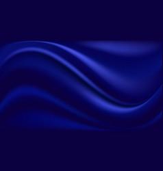 Blue silk background wavy satin fabric texture vector