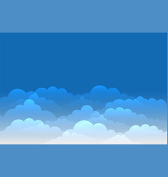 Blue sky with shiny clouds background design vector