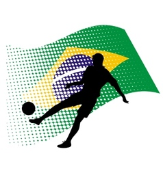 Brasil soccer player against national flag vector