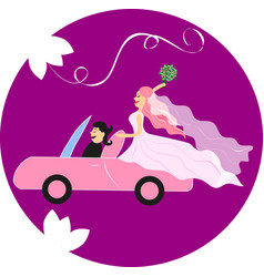 Bride and groom in a pink car vector