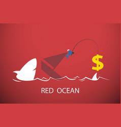 businessman fishing dollar symbol in red ocean vector image