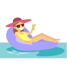 Caucasian white woman relaxing in swimming pool vector