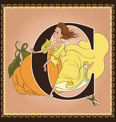 Children book cartoon fairytale alphabet letter c vector