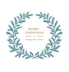 christmas card winter wreath tree vector image