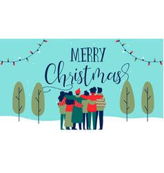 christmas diverse friend group hug greeting card vector image