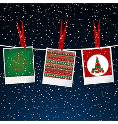Christmas with photo frame with pegs over snowing vector image