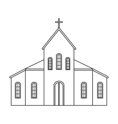 Church icon in outline style isolated on white vector image