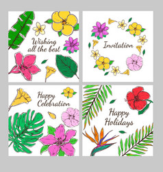 colored floral decorative invitation cards set vector image