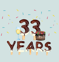 colorful greeting card 33 years vector image
