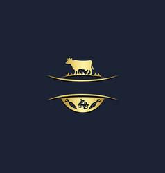 Cow farm nature logo vector