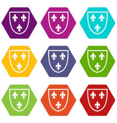 Crest icon set color hexahedron vector