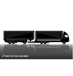 Detailed silhouettes of trailer truck with vector