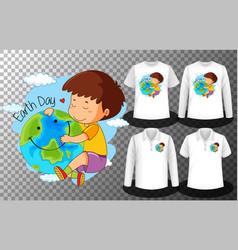 earth day with cute boy hug logo vector image