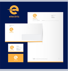 Electric industrial power logo and identity vector