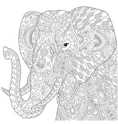 Elephant adult coloring page vector
