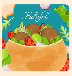 Falafel exotic eastern dish with meat and vector