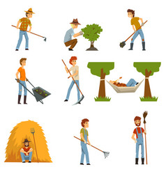 Farmers set farm workers with gardening tools vector