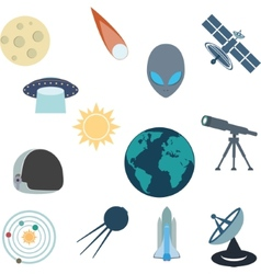 Flat various space elements vector