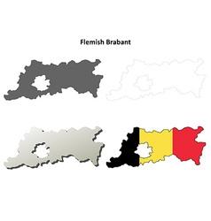 Flemish Brabant outline map set - Belgian version vector
